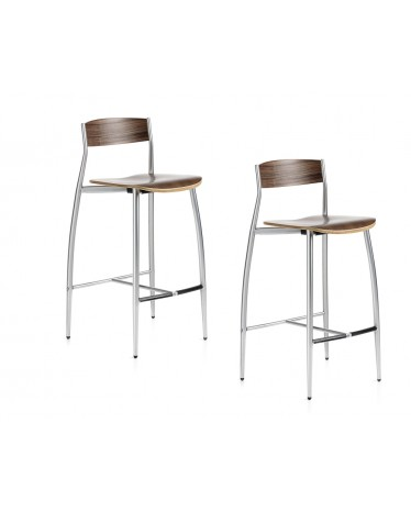 Admirable Two Stools Baba H65 Cm Canaletto Walnut Altek Italia Theyellowbook Wood Chair Design Ideas Theyellowbookinfo