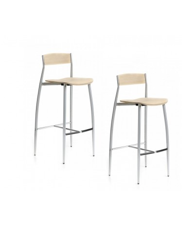 Awesome Two Stools Baba H75 Cm Bleached Oak Altek Italia Design Theyellowbook Wood Chair Design Ideas Theyellowbookinfo