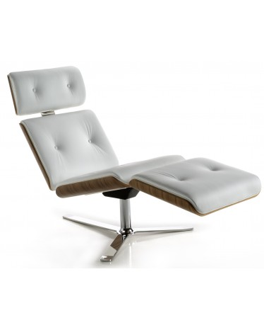 Armadillo 7 Chaise Longue Walnut Finish In White Leather
